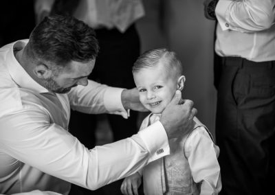 Pageboy with his dad the groom before ceremony