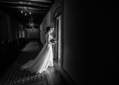 Bride and her dad walking to her wedding ceremony at Lympne Castle