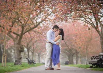 Cherry Blossom in London on your engagement shoot